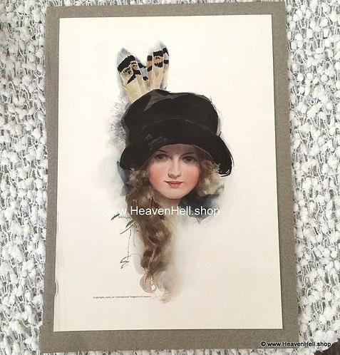 1912 Vintage Harrison Fisher Art Print School Girl, Feather Hat