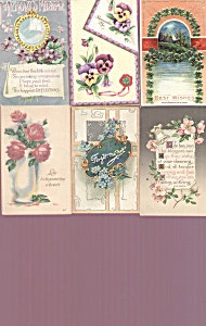 Antique Postcards Lot Vicrorian Pansies Roses Four Leaf Clover
