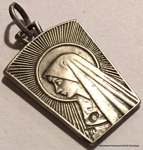 Vintage Rare Art Deco Religious Medal Virgin Mary Our Lady of Lourdes Jewelry