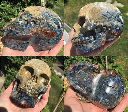 "5"" Large Activated Pietersite Crystal Skull - Spiritual realm Energy Transmitter"