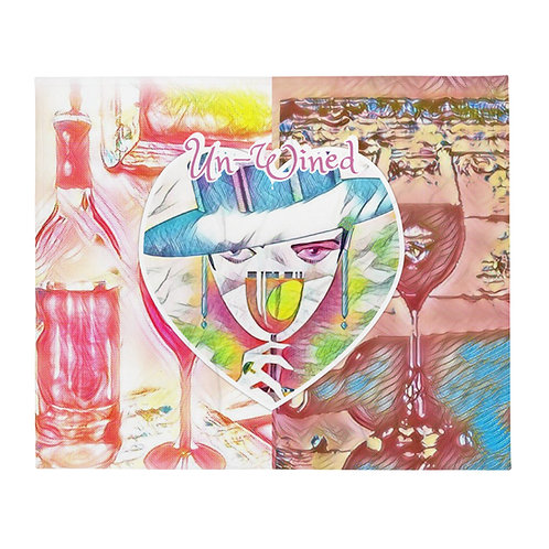 Un-Wined Throw Blanket Wine Theme Art BOHO Hippie Chic Trendy Decor