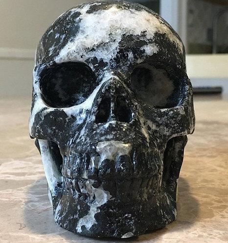 "Large 5.25"" Activated Quartz & Black Tourmaline Crystal Skull - Protection"