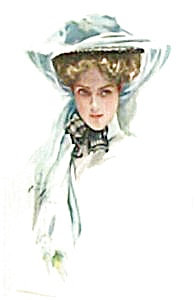 Art Harrison Fisher 1908 Lady In Big Hat Print