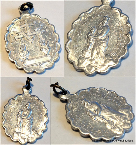 Rare Vintage Our Lady Of Victory Miraculous Medal Virgin Mary Jesus Pendant