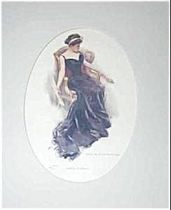 Harrison Fisher Printvictorian Lady In Gown W/ Fan