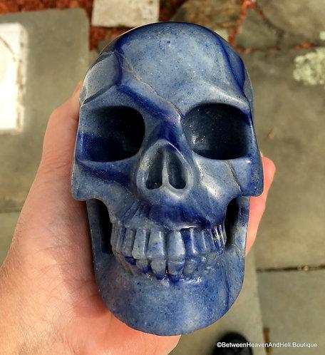 "5"" Large Banded Blue Aventurine Skull Psychic Ability Crystal Automatic Writing"