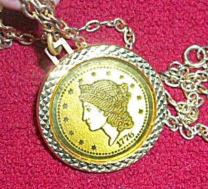 Vintage Gold Coin Necklace Pendant Costume Jewelry