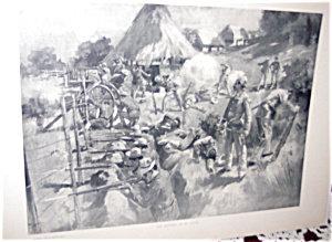 Antique War Print Howard Chandler Christy Defence Of El Caney