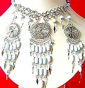 Jewelry Sets Cats Eye Necklace & Earrings: Light Blue Set