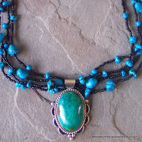 Large Sexy Turquoise Chrysocolla & Black seed bead Necklace, Handcrafted Jewelry