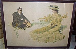 Antique Will Grefe Print Yellow Peril Beach Scene