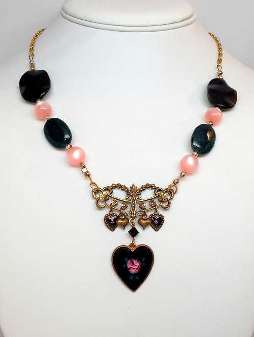 Handpainted Enamel Rose Heart Necklace with Pink Cats Eye Moss Agate Quartz