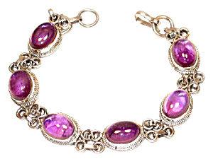 Amethyst Cabochon Sterling Silver Bracelet; Gemstone Jewelry
