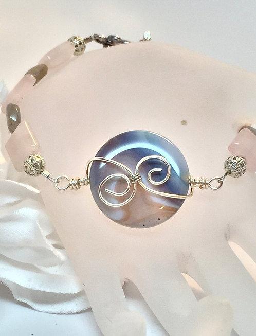 "OOAK 8"" Wire Wrapped Agate Bracelet w/ Labradorite, Rose Quartz Gemstone, Anklet"
