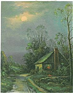 Country Prints: Summer Night Scene: Moonlight House