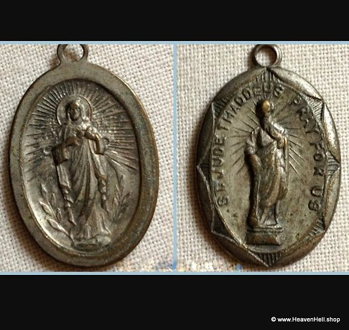 Vintage Religious Medal St. Jude Thaddeus And sacred Heart of Jesus Christ