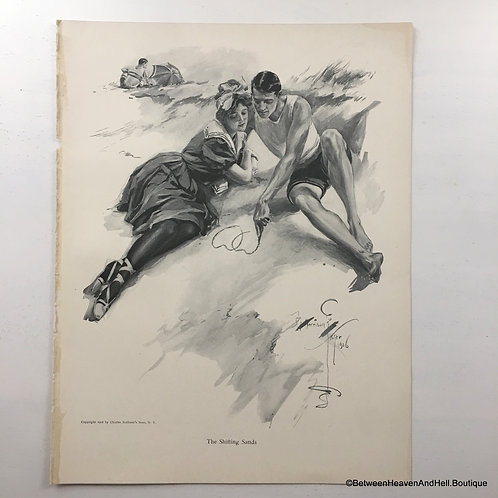 Vintage Edwardian Beach Romance Art Print, Harrison Fisher, Shifting Sands
