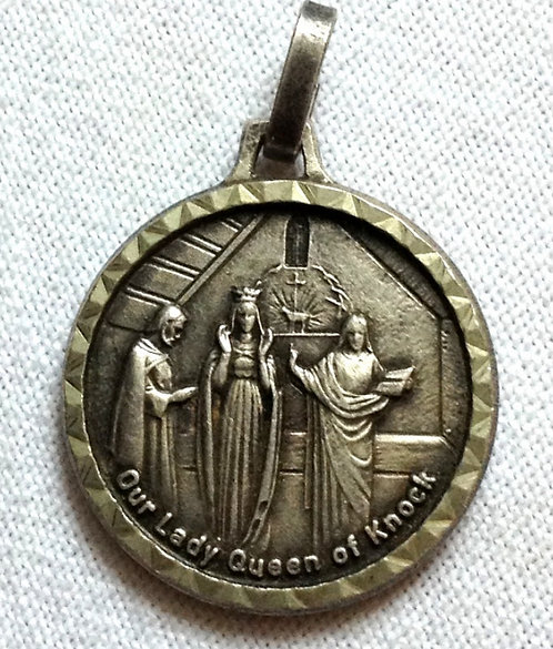 Vintage Religious Pendant: Signed Medal Our Lady Of Knock St. Christopher