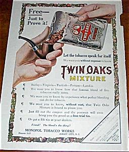 Twin Oaks Pipetobacco Ad Illustration 1911 Color