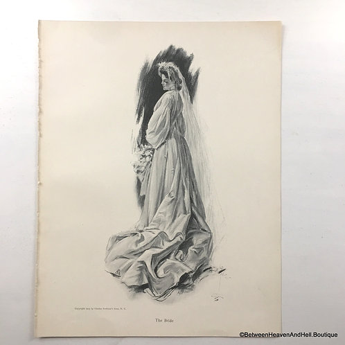 1905 Vintage Edwardian Bride Print, Wedding Decor, Bridal Gift