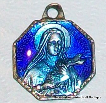 Religious jewelry: Tiny Antique Saint Therese Blue Aqua Enamel Medal Small Charm