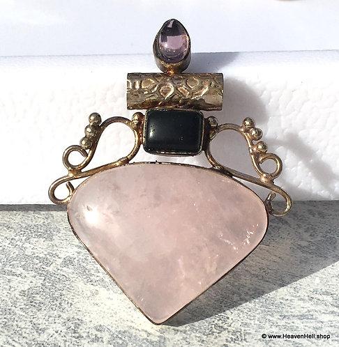 Vintage Pink Rose Quartz, Onyx, Amethyst Sterling Pendant Silver Jewelry