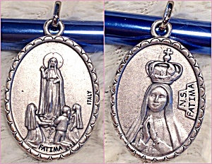 Large Silver Our Lady Of Fatima Medal Ladies Men's Pendant