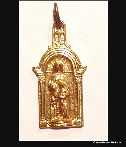 Vintage Child And Blessed Mother Virgin Mary Pendant Gold Tone