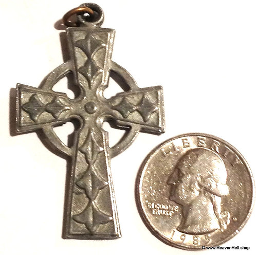 "Large Vintage 2"" Pewter Irish Celtic Cross Pendant Christian religious Jewelry"