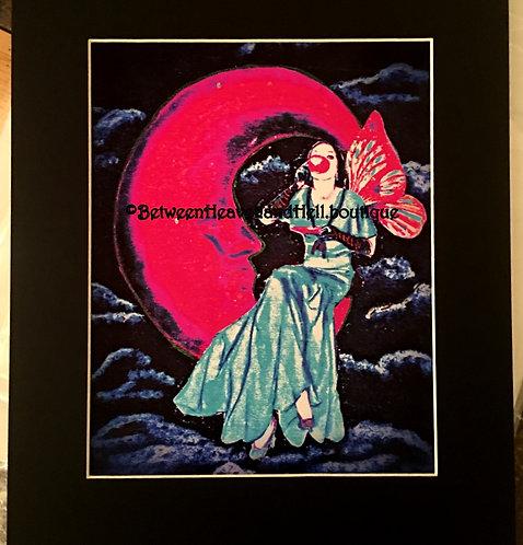 Midnight Moonlight Tea Time Altered Art Deco Fairy Print Crescent Moon 11x14