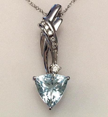 14k White Gold Trillion Cut Aquamarine & Diamond Pendant Necklace