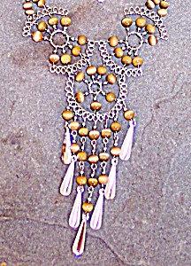 Jewelry Sets Cats Eye Necklace & Earrings Golden Honey Set