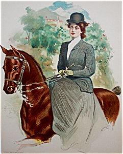 Victorian Equestrian Prints: Lady Horseback Riding Side Saddle