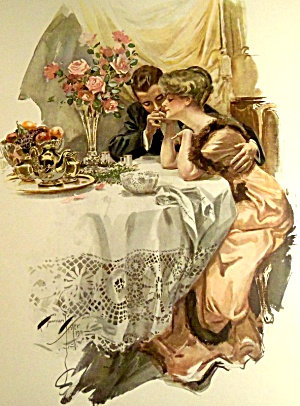 Antique Romance Print Edwardian First Evening Harrison Fisher