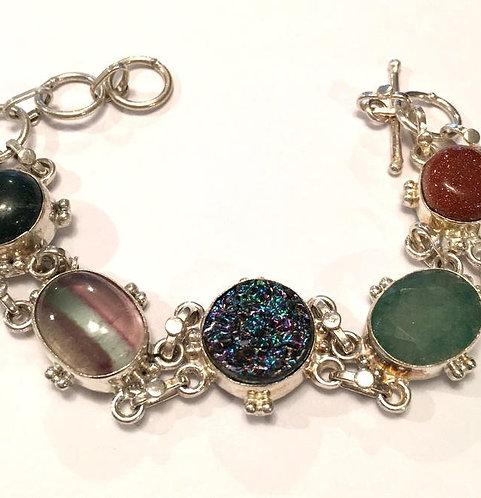 OOAK Sterling Silver Bracelet Titanium Aura Druzy, Emerald, Goldstone, Fluorite