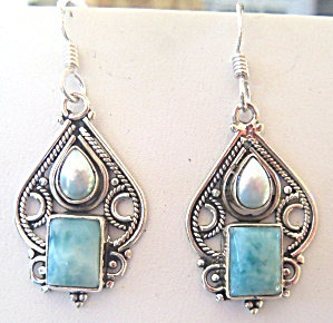Sterling Silver Blue Larimar Dangle Earrings Handcrafted Gemstone Jewelry