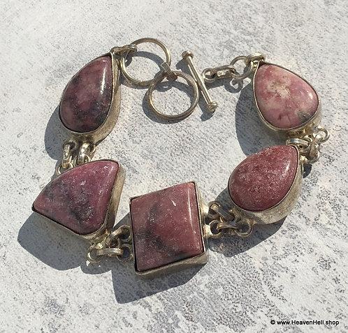 Vintage Chunky Free Form Rhodonite Gemstone Bracelet Sterling Silver