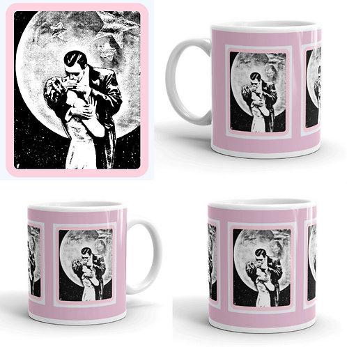 Pink Full Moon Romance Coffee Mug Starlight Moonlight Kiss
