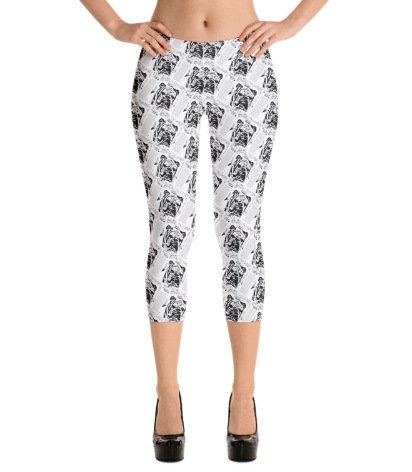 Trendy Gray Bulldog Print Capri Leggings Grey Capri's Woman's Apparel