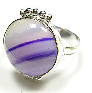 Agate Jewelry Purple Sterling Silver Ring