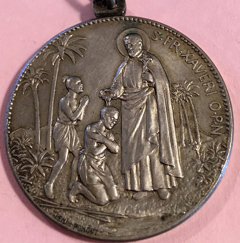 Large Signed Penin Poncet Antique French Holy Medal Saint Francis Xavier