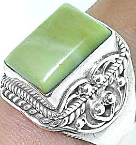 Mystical Green Jade .925 Silver Ring Unisex Size 7.5