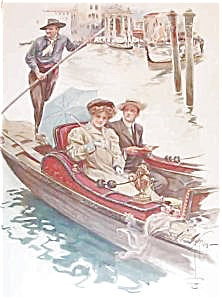 Harrison Fisher Lithograph: Italy : Boat: Romance