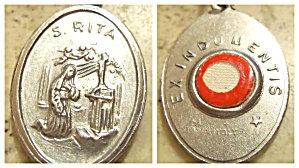 Vintage Relic St. Rita Holy Medal Saint Pendant