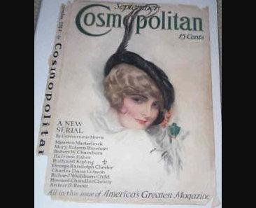 Vintage Harrison Fisher Cosmopolitan Magazine Cover Art Print Woman Feather Hat