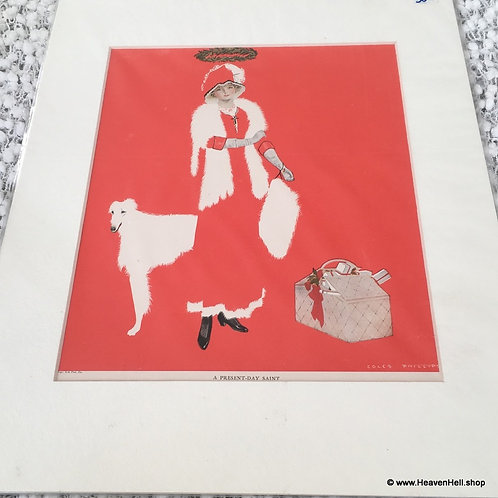 Vintage Christmas Print Coles Phillips Borzoi Dog Fade Away Girl Art