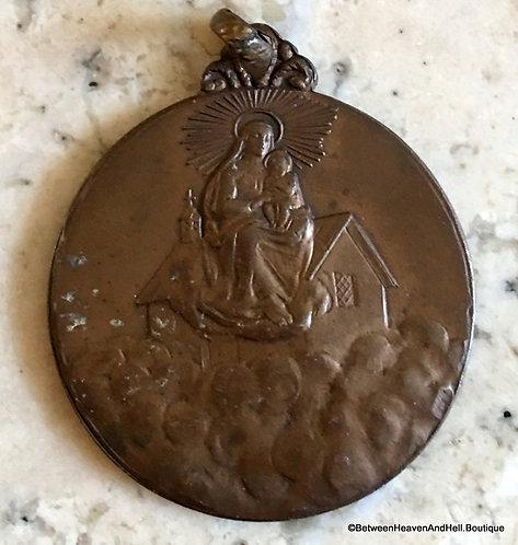 Rare Vintage Holy Medal Virgin Mary Child Jesus, Religious jewelry