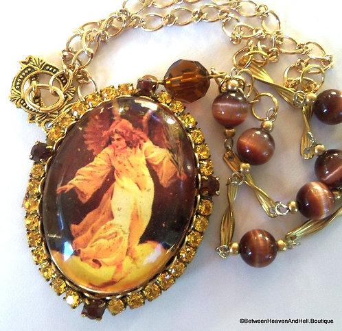 Large Vintage Rhinestone Guardian Angel Cameo Locket Cats Eye Beads Necklace