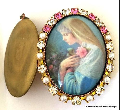 Vintage Religious Jewelry, Mystical Rose Cameo Prayer Locket Pendant Virgin Mary