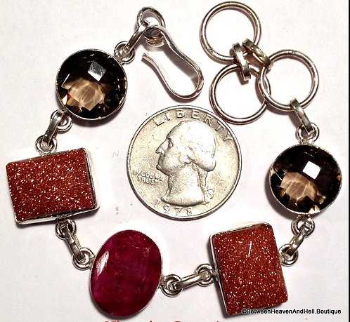 Natural Ruby Smoky Quartz Goldstone .925 Silver, Sterling Gemstone Bracelet